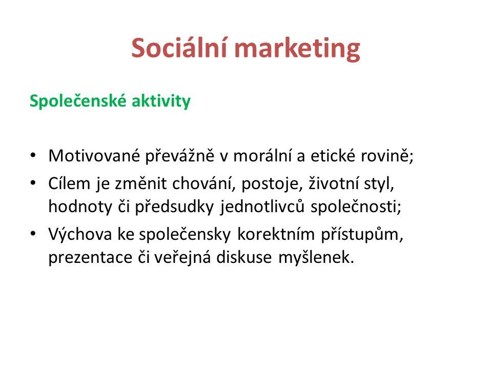 Sociální marketing Společenské aktivity Motivované převážně v morální a etické rovině; Cílem je změnit chování, postoje, životní styl, hodnoty či předsudky jednotlivců společnosti; Výchova ke společensky korektním přístupům, prezentace či veřejná diskuse myšlenek.