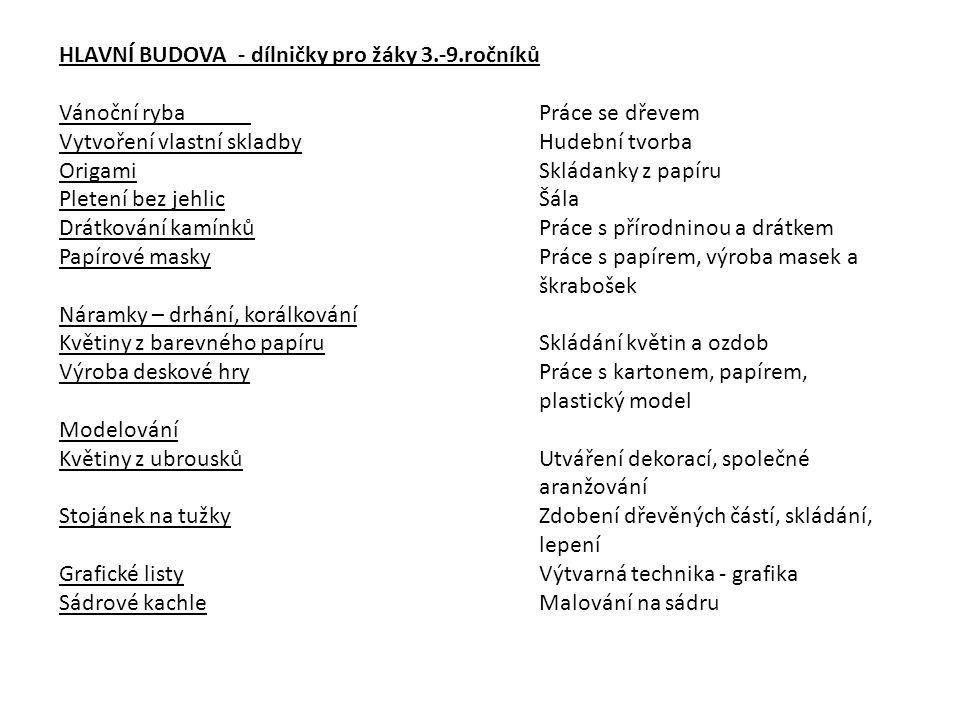 HLAVNÍ BUDOVA - dílničky pro žáky 3.-9.ročníků Vánoční rybaPráce se dřevem Vytvoření vlastní skladbyHudební tvorba OrigamiSkládanky z papíru Pletení b