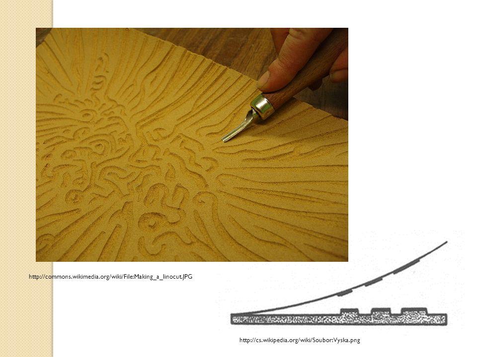 Tisk z výšky Grafik přenese kresbu na štoček (dřevěná deska, linoleum, PVC), postupně pomocí různých druhů rýtek a dlátek odebírá materiál kolem kresby.