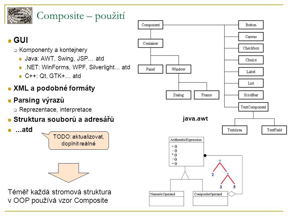 Composite – použití GUI  Komponenty a kontejnery Java: AWT, Swing, JSP… atd.NET: WinForms, WPF, Silverlight...