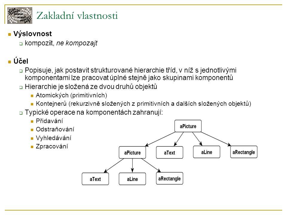 Implementace – specifika Explicitní reference na rodiče  Jednodušší pohyb po stromové struktuře, použití ve vzoru Chain of Responsibility  Pomáhá mazání komponentů  Referenci definovat v Component Leaf a Composite ji dědí spolu s funkcemi s ní případně spojenými  Zajistit, aby reference byla aktuální Měnit ji pouze když je dítě přidáváno nebo odstraňováno z Composite (Add, Remove) Composite.Operation()  Nemusí se delegovat pouze na potomky Př.: Equipment.GetTotalPrice() vrací cenu objektu: rekurzivně zavolá na všechny své děti a jejich návratové hodnoty sečte