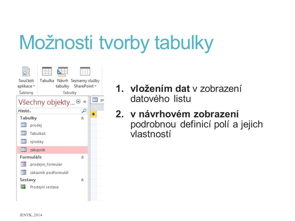 Možnosti tvorby tabulky 1.vložením dat v zobrazení datového listu 2.v návrhovém zobrazení podrobnou definicí polí a jejich vlastností JENYK, 2014