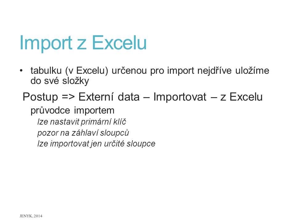 Import z Excelu tabulku (v Excelu) určenou pro import nejdříve uložíme do své složky Postup => Externí data – Importovat – z Excelu průvodce importem