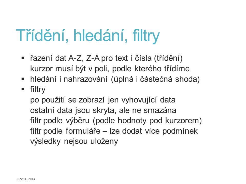 Třídění, hledání, filtry  řazení dat A-Z, Z-A pro text i čísla (třídění) kurzor musí být v poli, podle kterého třídíme  hledání i nahrazování (úplná
