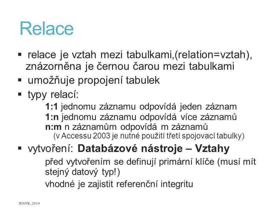 Relace  relace je vztah mezi tabulkami,(relation=vztah), znázorněna je černou čarou mezi tabulkami  umožňuje propojení tabulek  typy relací: 1:1 je