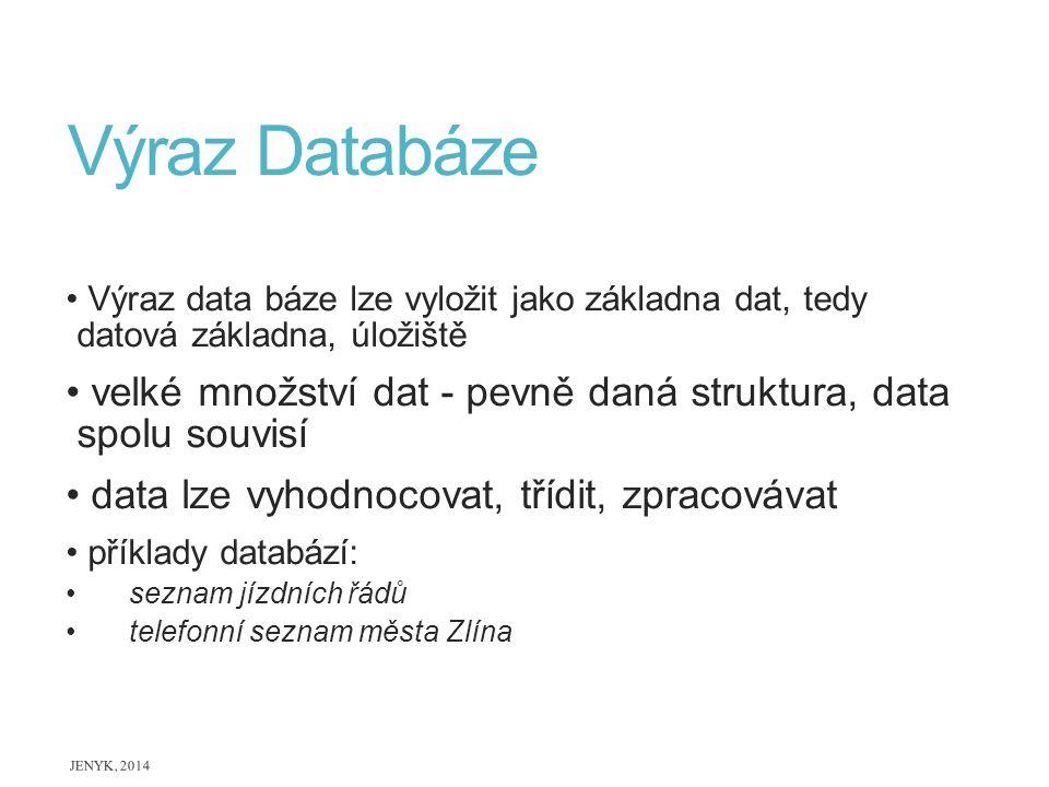 Výraz Databáze Výraz data báze lze vyložit jako základna dat, tedy datová základna, úložiště velké množství dat - pevně daná struktura, data spolu sou