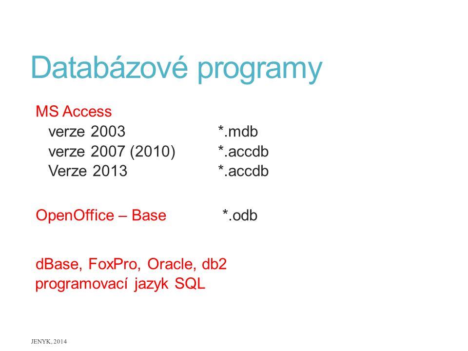 Databázové programy MS Access verze 2003*.mdb verze 2007 (2010)*.accdb Verze 2013 *.accdb OpenOffice – Base *.odb dBase, FoxPro, Oracle, db2 programov