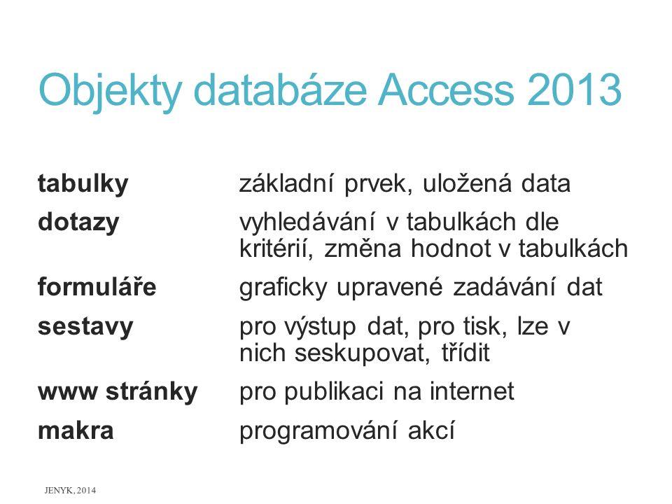 Objekty databáze Access 2013 tabulky základní prvek, uložená data dotazy vyhledávání v tabulkách dle kritérií, změna hodnot v tabulkách formuláře graf