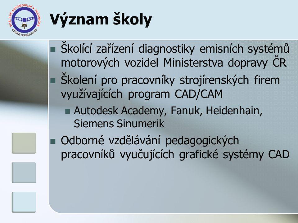 Význam školy Školící zařízení diagnostiky emisních systémů motorových vozidel Ministerstva dopravy ČR Školení pro pracovníky strojírenských firem využ
