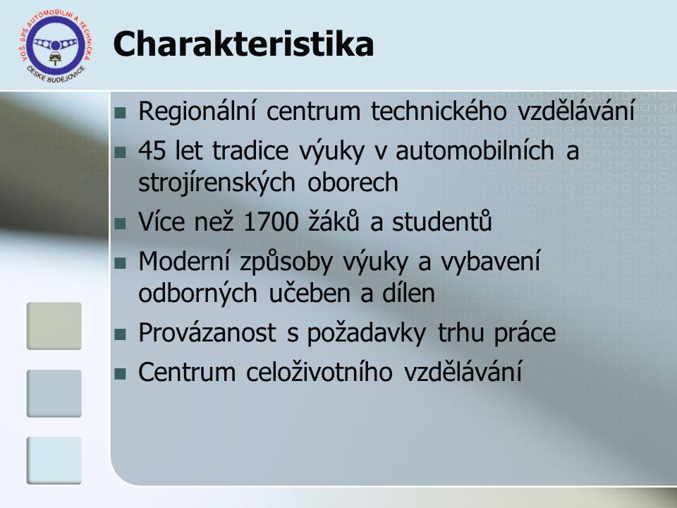 Charakteristika Regionální centrum technického vzdělávání 45 let tradice výuky v automobilních a strojírenských oborech Více než 1700 žáků a studentů