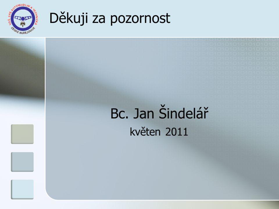 Děkuji za pozornost Bc. Jan Šindelář květen 2011