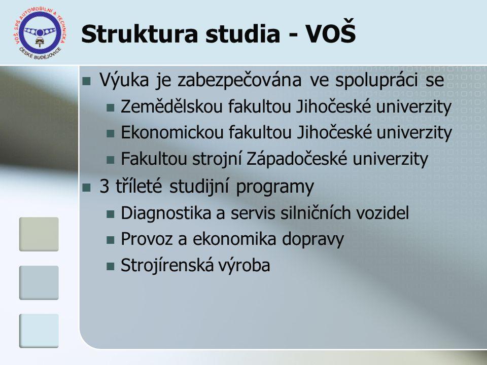 Struktura studia - VOŠ Výuka je zabezpečována ve spolupráci se Zemědělskou fakultou Jihočeské univerzity Ekonomickou fakultou Jihočeské univerzity Fak