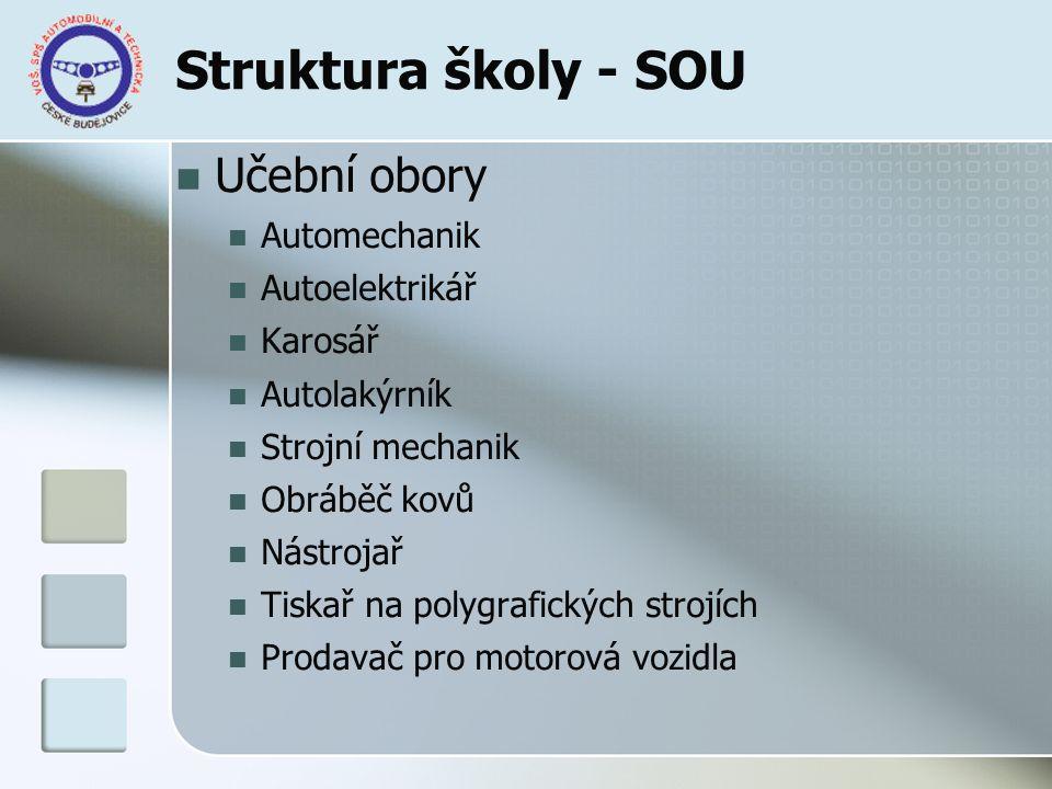Struktura studia - nástavby Dvou a tříleté studijní programy Podnikání (denní nebo dálkové studium) Autoelektronika (denní studium) Provozní technika (denní nebo dálkové studium)