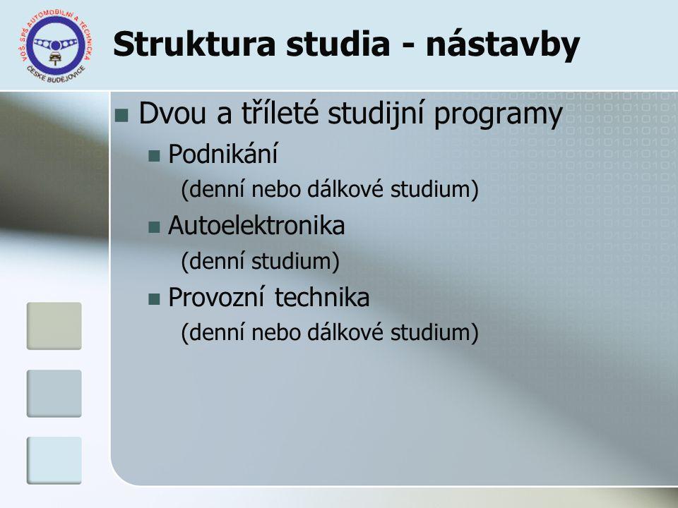 Struktura studia - nástavby Dvou a tříleté studijní programy Podnikání (denní nebo dálkové studium) Autoelektronika (denní studium) Provozní technika