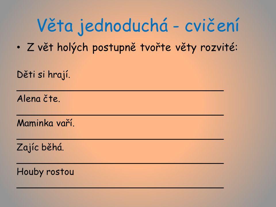 Věta jednoduchá - cvičení Z vět holých postupně tvořte věty rozvité: Děti si hrají.