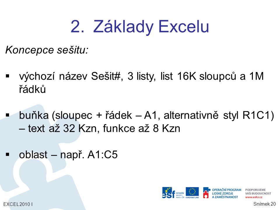 Snímek 20 2.Základy Excelu Koncepce sešitu:  výchozí název Sešit#, 3 listy, list 16K sloupců a 1M řádků  buňka (sloupec + řádek – A1, alternativně styl R1C1) – text až 32 Kzn, funkce až 8 Kzn  oblast – např.