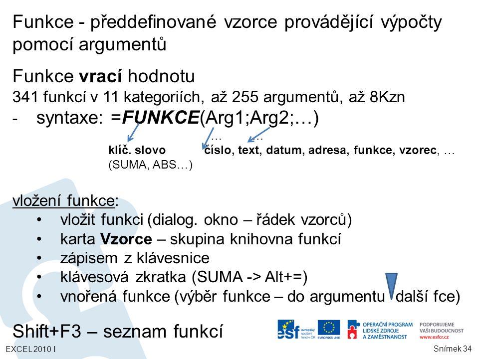 Funkce - předdefinované vzorce provádějící výpočty pomocí argumentů Funkce vrací hodnotu 341 funkcí v 11 kategoriích, až 255 argumentů, až 8Kzn - syntaxe: =FUNKCE(Arg1;Arg2;…) …… klíč.