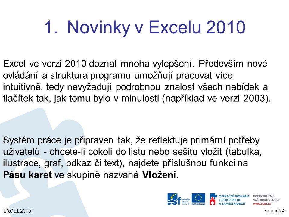 EXCEL 2010 I Snímek 25 Pohyby v listu Kurzorové klávesy, Ctrl+Home, Ctrl+End Označování buněk (Shift+šipky, Shift+klepnutí, Ctrl+*) Nesouvislá oblast – (Ctrl+klepnutí, Ctrl+klepnutí / Shift+šipky  ) Řádky (číslo / Shift+mez), sloupce (písm.