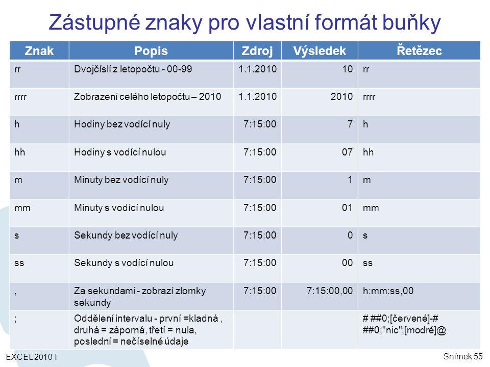 ZnakPopisZdrojVýsledekŘetězec rrDvojčíslí z letopočtu - 00-991.1.201010rr rrrrZobrazení celého letopočtu – 20101.1.20102010rrrr hHodiny bez vodící nuly7:15:007h hhHodiny s vodící nulou7:15:0007hh mMinuty bez vodící nuly7:15:001m mmMinuty s vodící nulou7:15:0001mm sSekundy bez vodící nuly7:15:000s ssSekundy s vodící nulou7:15:0000ss,Za sekundami - zobrazí zlomky sekundy 7:15:007:15:00,00h:mm:ss,00 ;Oddělení intervalu - první =kladná, druhá = záporná, třetí = nula, poslední = nečíselné údaje # ##0;[červené]-# ##0; nic ;[modré]@ Zástupné znaky pro vlastní formát buňky Snímek 55 EXCEL 2010 I