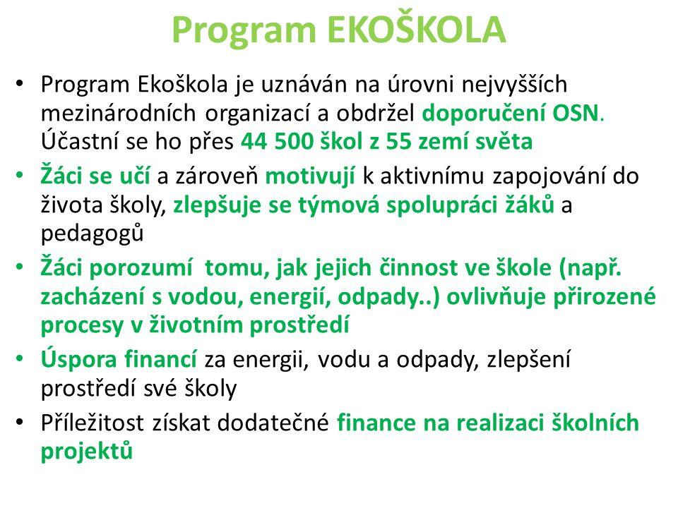 Program EKOŠKOLA Program Ekoškola je uznáván na úrovni nejvyšších mezinárodních organizací a obdržel doporučení OSN. Účastní se ho přes 44 500 škol z