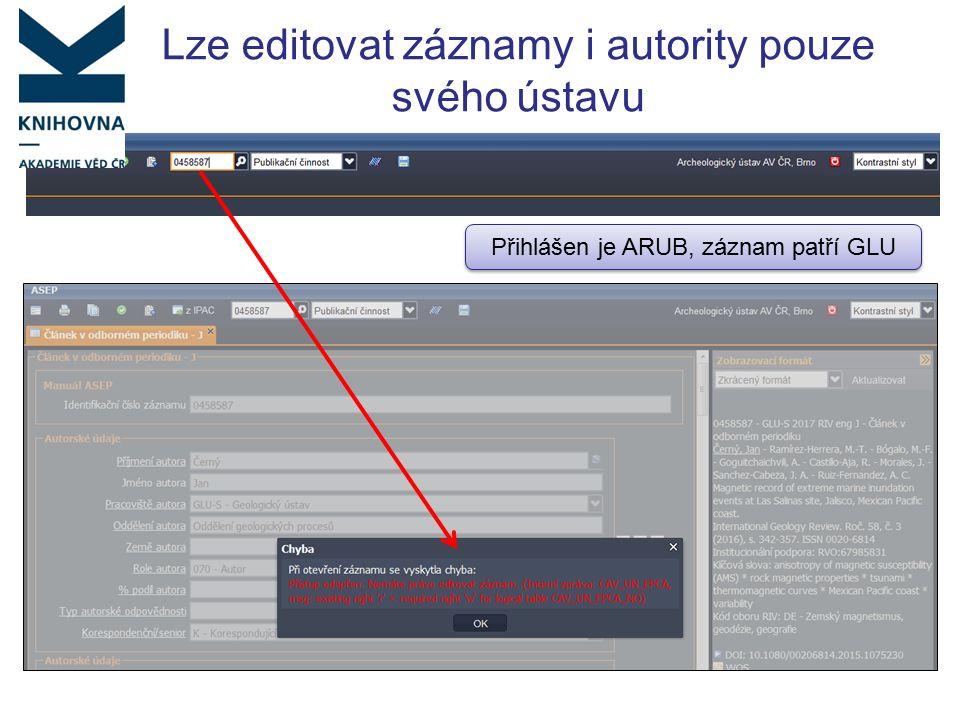Lze editovat záznamy i autority pouze svého ústavu Přihlášen je ARUB, záznam patří GLU
