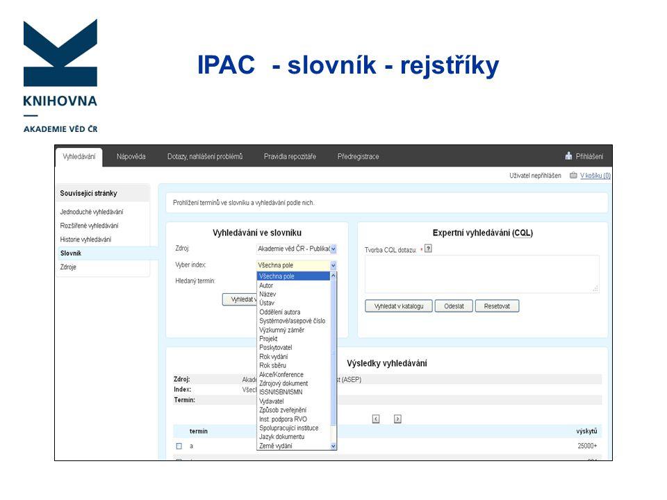 IPAC - slovník - rejstříky