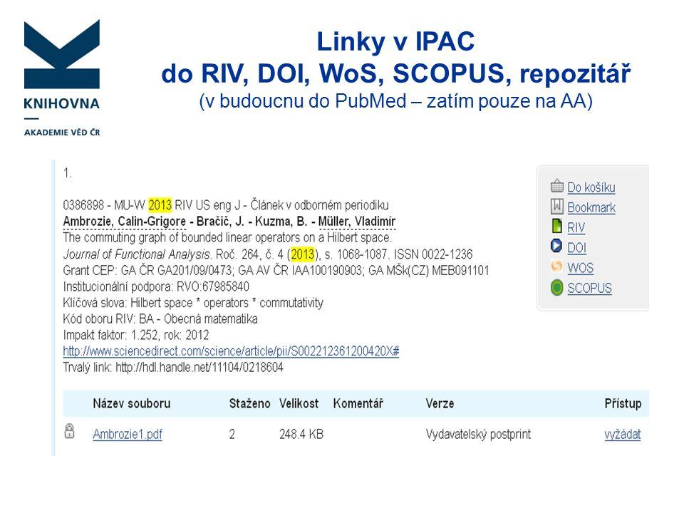 Linky v IPAC do RIV, DOI, WoS, SCOPUS, repozitář (v budoucnu do PubMed – zatím pouze na AA)