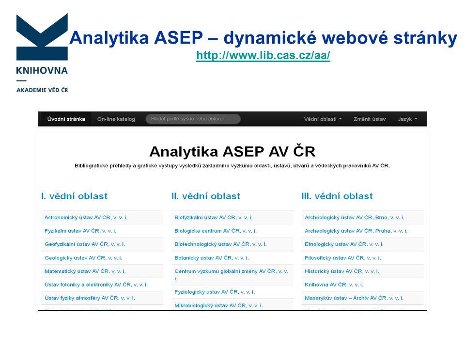 Analytika ASEP – dynamické webové stránky http://www.lib.cas.cz/aa/ http://www.lib.cas.cz/aa/