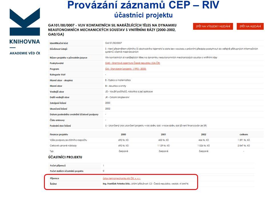 Provázání záznamů CEP – RIV účastníci projektu