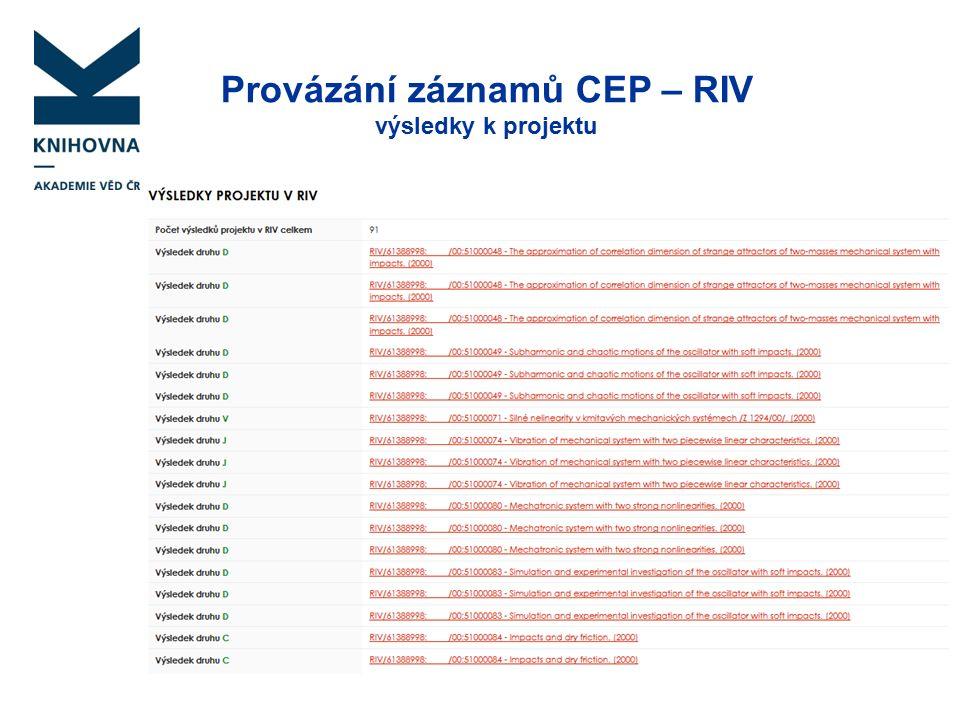Provázání záznamů CEP – RIV výsledky k projektu