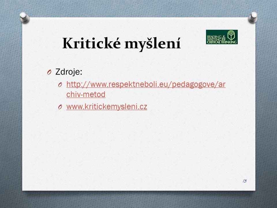 Kritické myšlení O Zdroje: O http://www.respektneboli.eu/pedagogove/ar chiv-metod http://www.respektneboli.eu/pedagogove/ar chiv-metod O www.kritickemysleni.cz www.kritickemysleni.cz 13