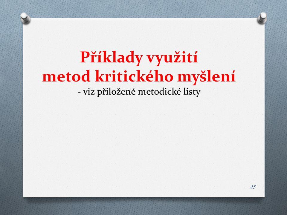 Příklady využití metod kritického myšlení - viz přiložené metodické listy 25