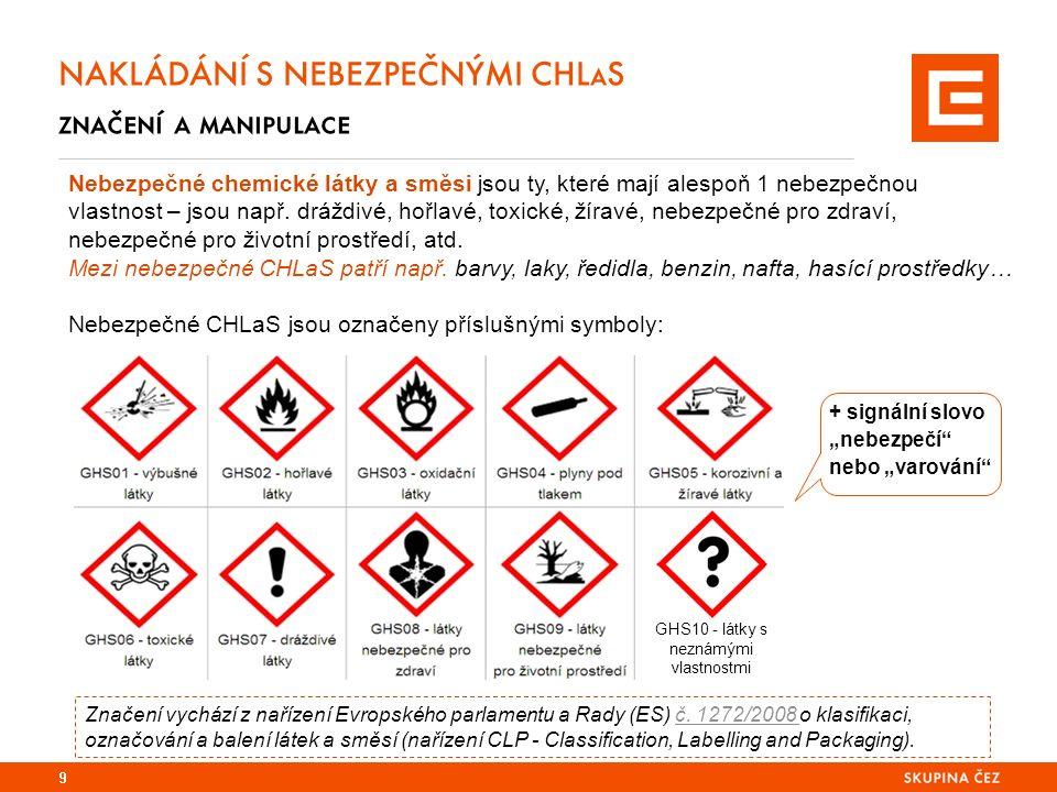 9 NAKLÁDÁNÍ S NEBEZPEČNÝMI CHLaS značení a manipulace Nebezpečné chemické látky a směsi jsou ty, které mají alespoň 1 nebezpečnou vlastnost – jsou např.