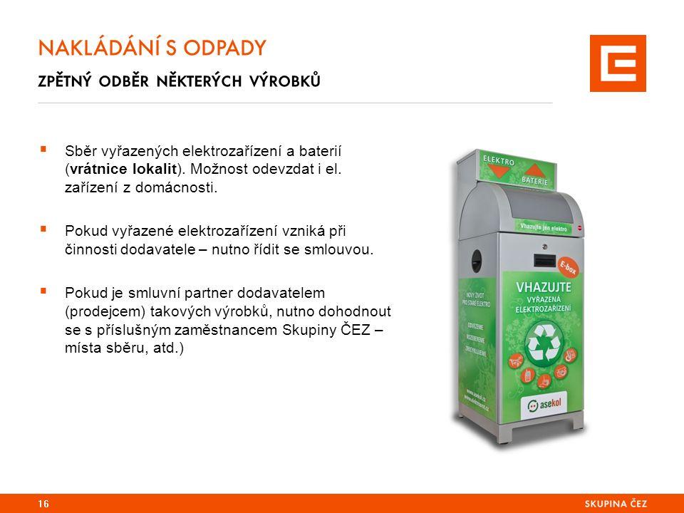 16 NAKLÁDÁNÍ S ODPADY zpětný odběr některých výrobků  Sběr vyřazených elektrozařízení a baterií (vrátnice lokalit).