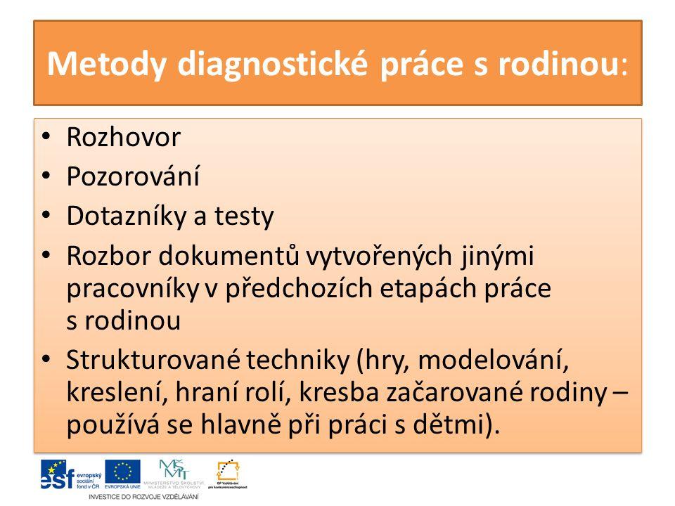 Metody diagnostické práce s rodinou: Rozhovor Pozorování Dotazníky a testy Rozbor dokumentů vytvořených jinými pracovníky v předchozích etapách práce