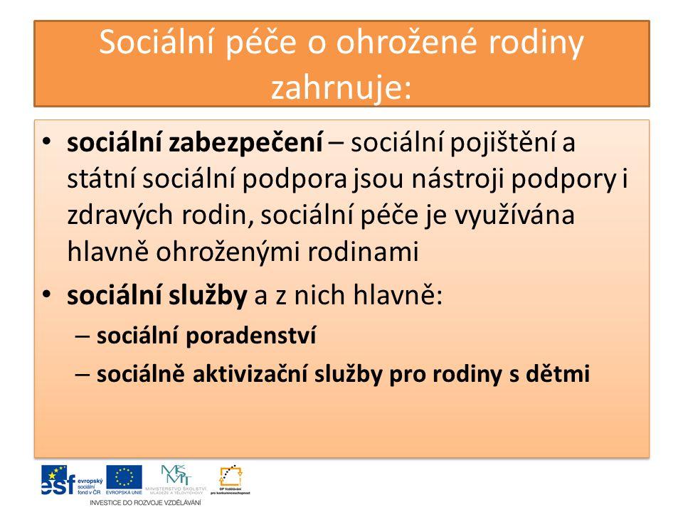 Sociální péče o ohrožené rodiny zahrnuje: sociální zabezpečení – sociální pojištění a státní sociální podpora jsou nástroji podpory i zdravých rodin,