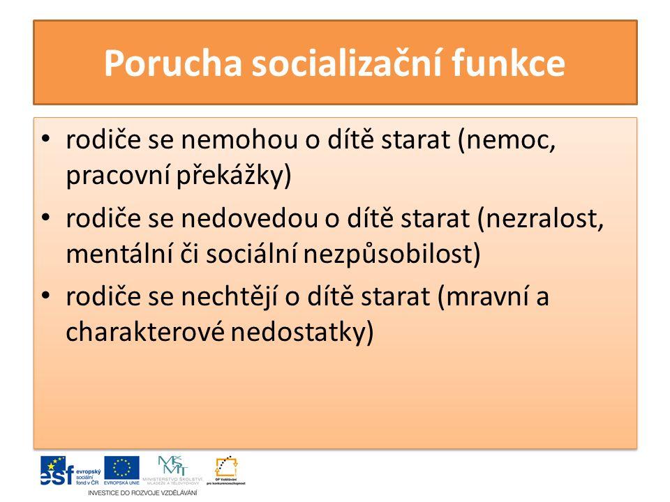 Porucha socializační funkce rodiče se nemohou o dítě starat (nemoc, pracovní překážky) rodiče se nedovedou o dítě starat (nezralost, mentální či sociá