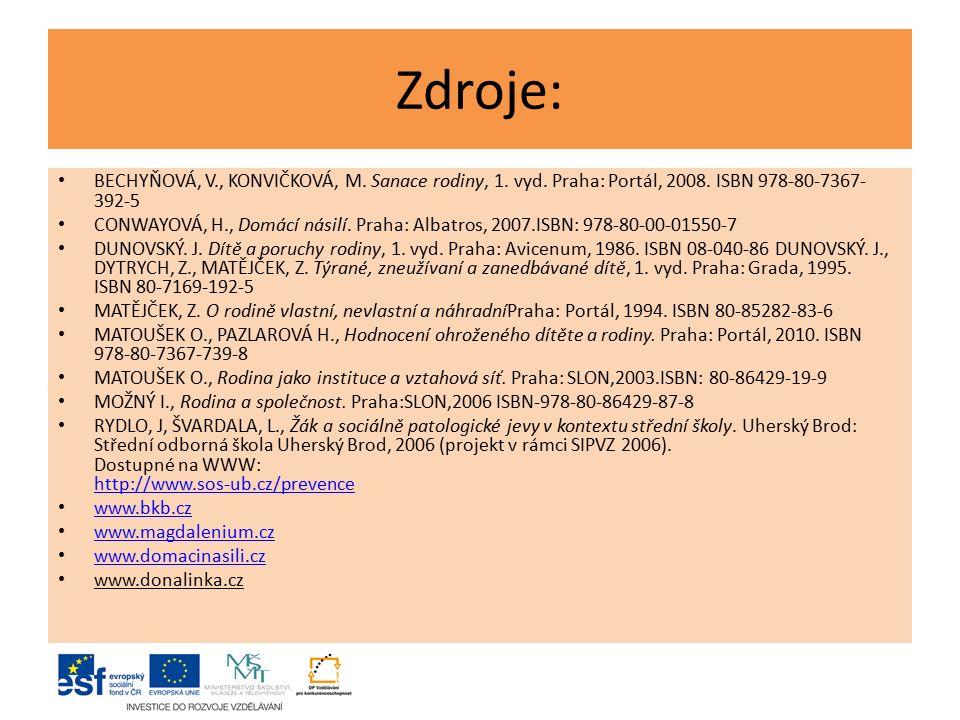 Zdroje: BECHYŇOVÁ, V., KONVIČKOVÁ, M. Sanace rodiny, 1. vyd. Praha: Portál, 2008. ISBN 978-80-7367- 392-5 CONWAYOVÁ, H., Domácí násilí. Praha: Albatro