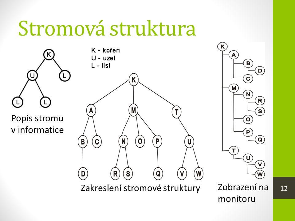 Stromová struktura Popis stromu v informatice Zakreslení stromové struktury Zobrazení na monitoru 12