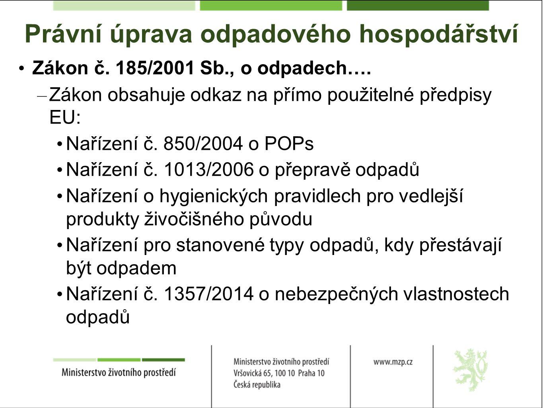 Právní úprava odpadového hospodářství Zákon č. 185/2001 Sb., o odpadech….