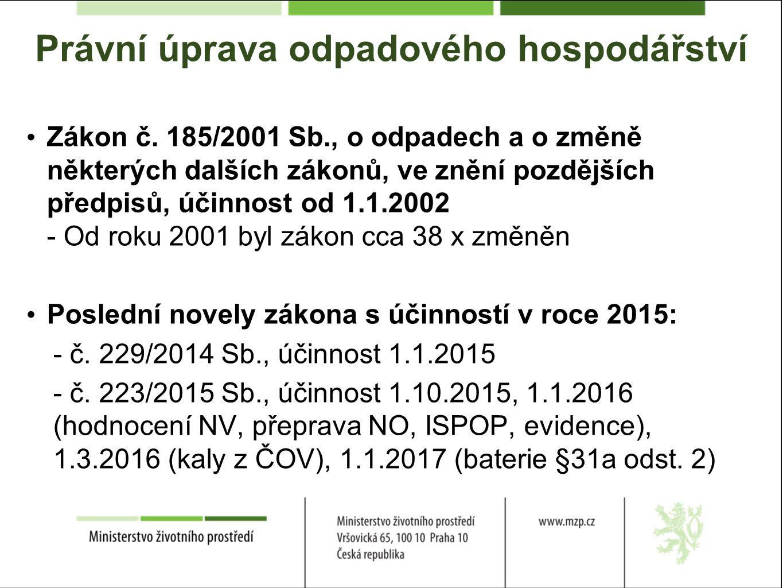 Právní úprava odpadového hospodářství Zákon č.