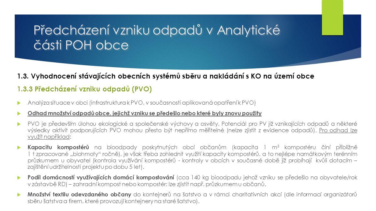 Předcházení vzniku odpadů v Analytické části POH obce 1.3.