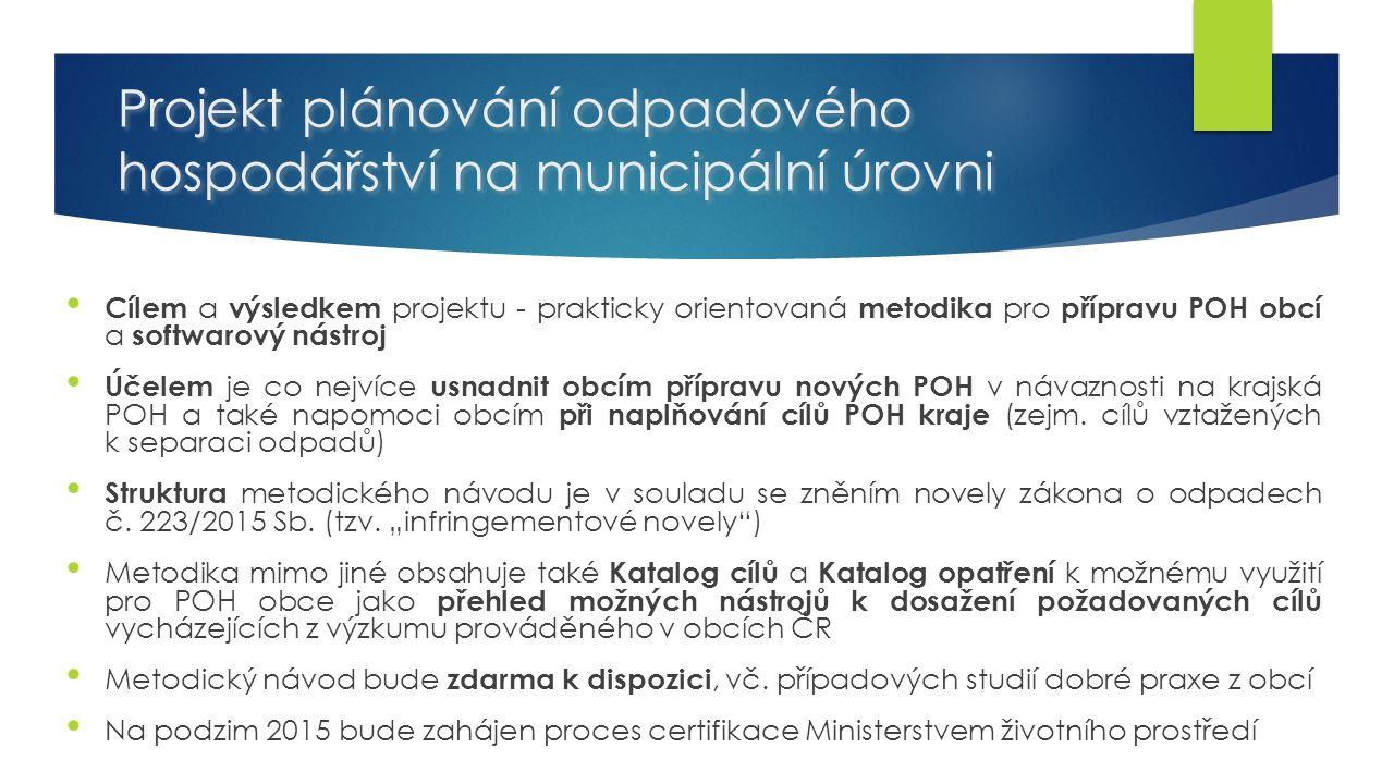 Projekt plánování odpadového hospodářství na municipální úrovni Cílem a výsledkem projektu - prakticky orientovaná metodika pro přípravu POH obcí a softwarový nástroj Účelem je co nejvíce usnadnit obcím přípravu nových POH v návaznosti na krajská POH a také napomoci obcím při naplňování cílů POH kraje (zejm.