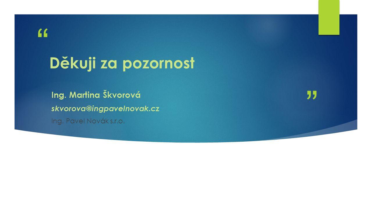 Děkuji za pozornost Ing. Martina Škvorová skvorova@ingpavelnovak.cz Ing. Pavel Novák s.r.o.
