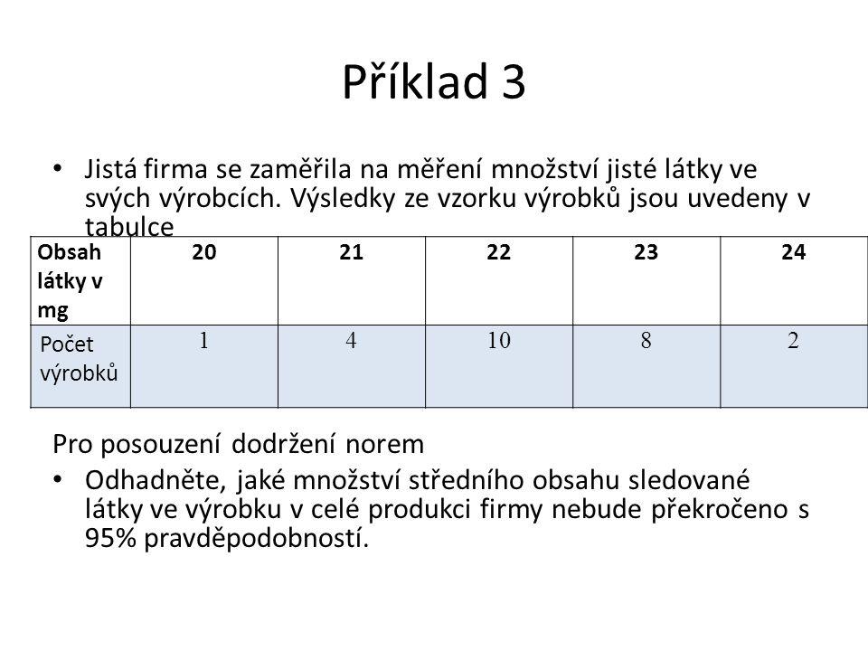 Příklad 3 Jistá firma se zaměřila na měření množství jisté látky ve svých výrobcích.