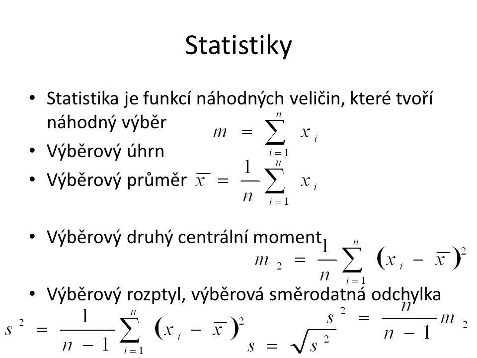 Statistiky Statistika je funkcí náhodných veličin, které tvoří náhodný výběr Výběrový úhrn Výběrový průměr Výběrový druhý centrální moment Výběrový rozptyl, výběrová směrodatná odchylka