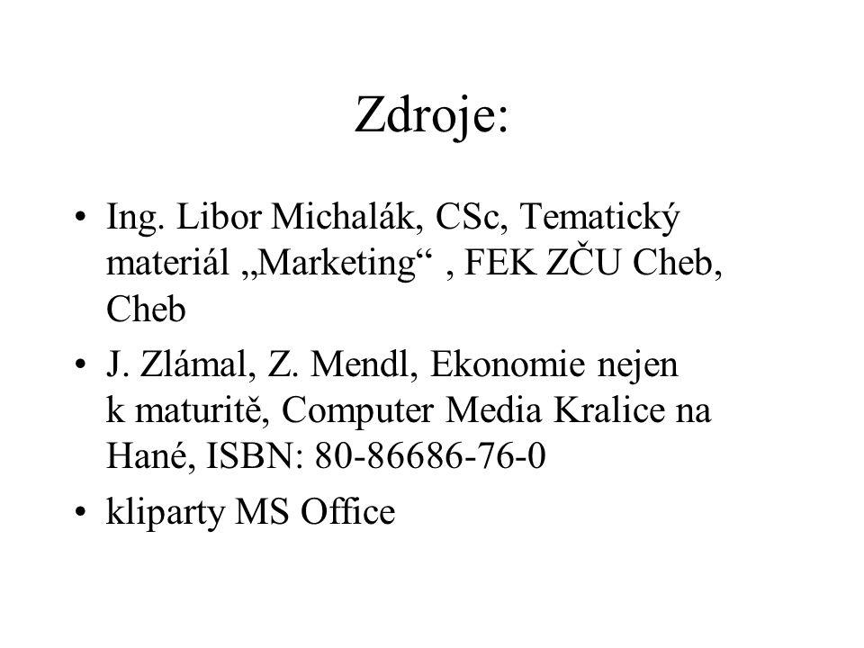 "Zdroje: Ing. Libor Michalák, CSc, Tematický materiál ""Marketing , FEK ZČU Cheb, Cheb J."