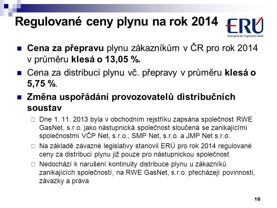 Cena za přepravu plynu zákazníkům v ČR pro rok 2014 v průměru klesá o 13,05 %. Cena za distribuci plynu vč. přepravy v průměru klesá o 5,75 %. Změna u