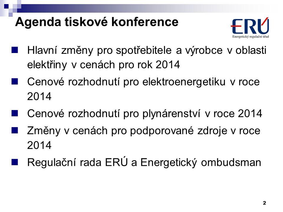 Agenda tiskové konference Hlavní změny pro spotřebitele a výrobce v oblasti elektřiny v cenách pro rok 2014 Cenové rozhodnutí pro elektroenergetiku v