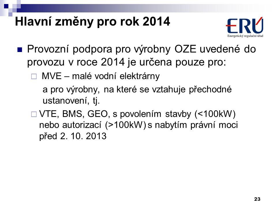 Hlavní změny pro rok 2014 Provozní podpora pro výrobny OZE uvedené do provozu v roce 2014 je určena pouze pro:  MVE – malé vodní elektrárny a pro výr